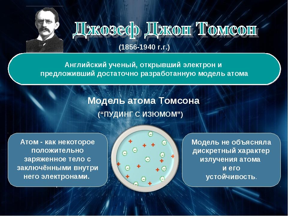 (1856-1940 г.г.) Английский ученый, открывший электрон и предложивший достато...