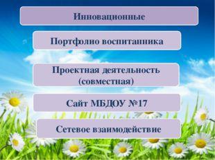 Инновационные Портфолио воспитанника Проектная деятельность (совместная) Сете