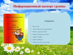 Информационный паспорт группы Информационный паспорт группы «ГНОМИКИ» МБДОУ «