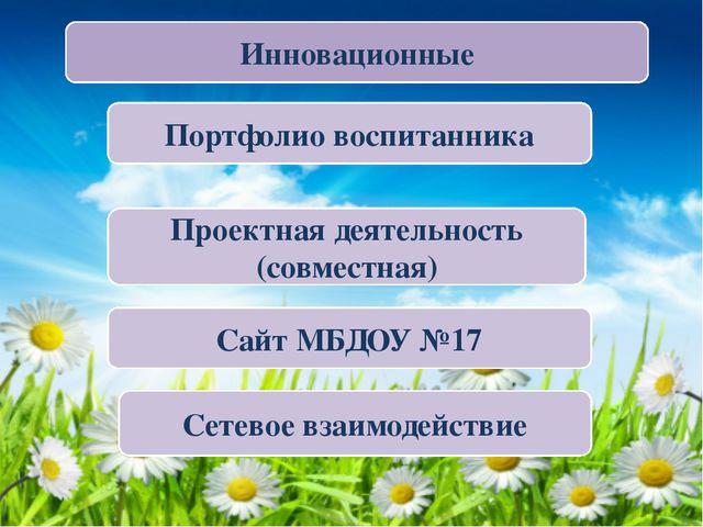 Инновационные Портфолио воспитанника Проектная деятельность (совместная) Сете...