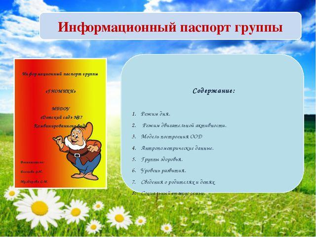 Информационный паспорт группы Информационный паспорт группы «ГНОМИКИ» МБДОУ «...