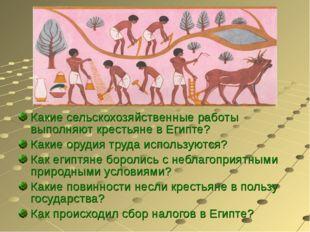 Какие сельскохозяйственные работы выполняют крестьяне в Египте? Какие орудия