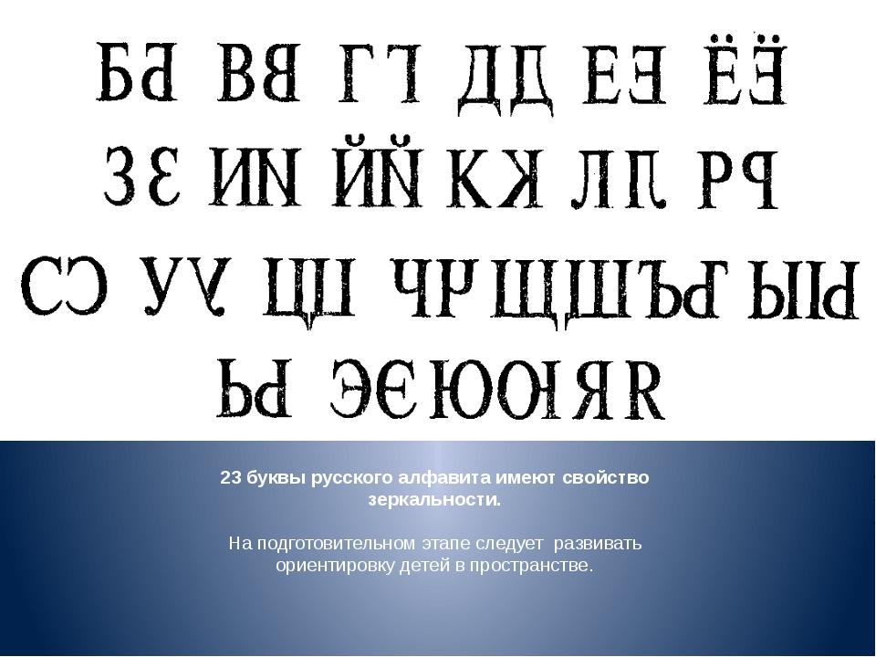 23 буквы русского алфавита имеют свойство зеркальности. На подготовительном э...