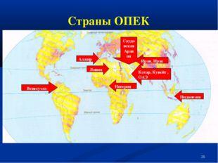 * Страны ОПЕК Алжир Венесуэла Индонезия Иран, Ирак Катар, Кувейт , ОАЭ Ливия