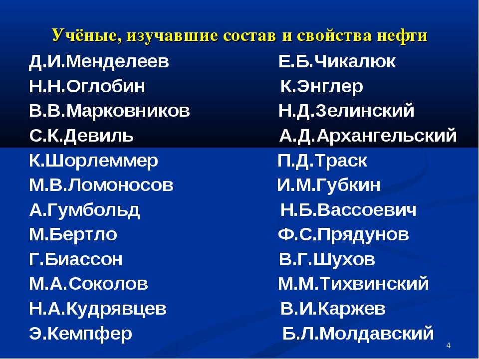* Учёные, изучавшие состав и свойства нефти Д.И.Менделеев Е.Б.Чикалюк Н.Н.Огл...