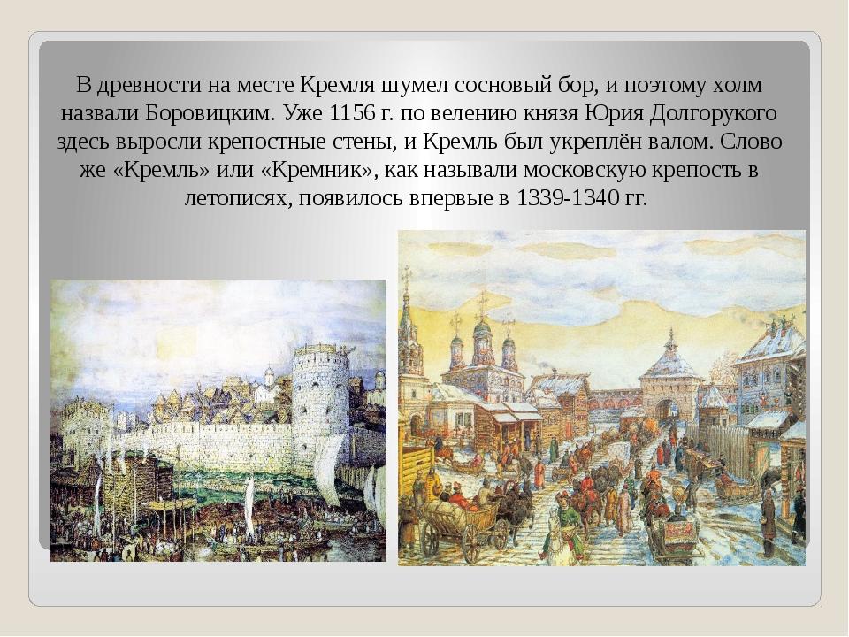 В древности на месте Кремля шумел сосновый бор, и поэтому холм назвали Борови...