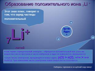 Образование положительного иона 7Li + 7Li+ литий Атом теряет отрицательный эл