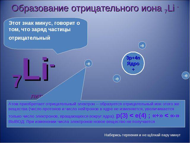 Образование отрицательного иона 7Li - 7Li- литий Атом приобретает отрицательн...