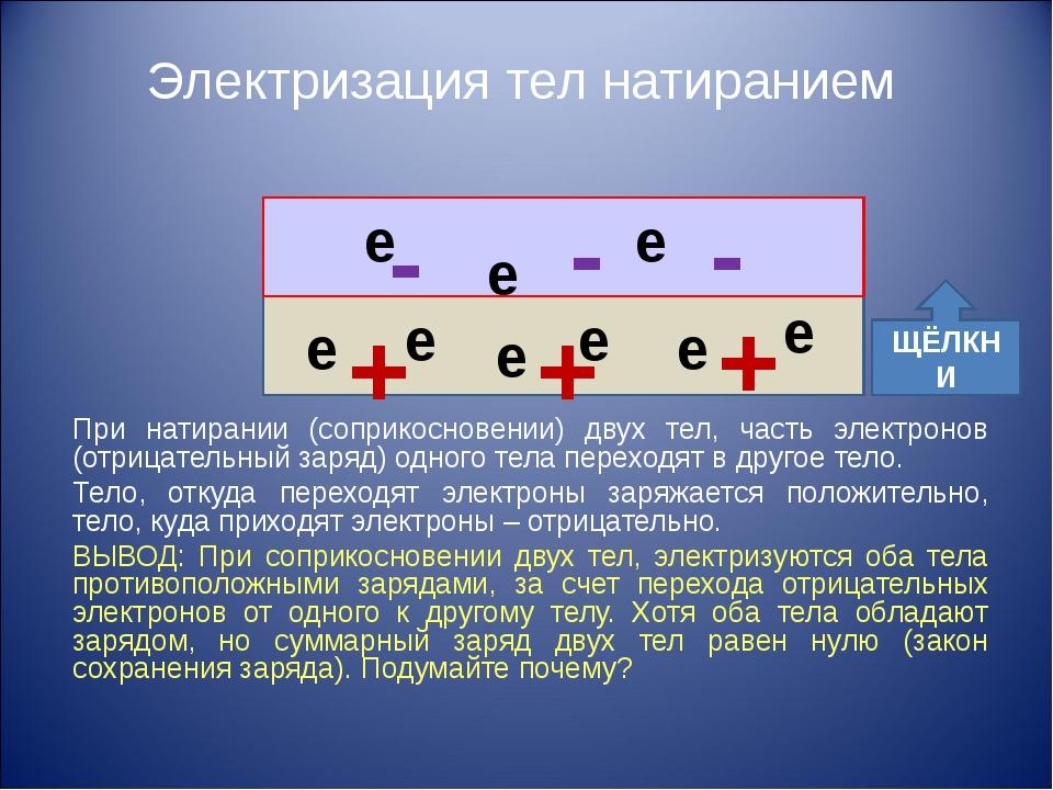 Электризация тел натиранием При натирании (соприкосновении) двух тел, часть э...