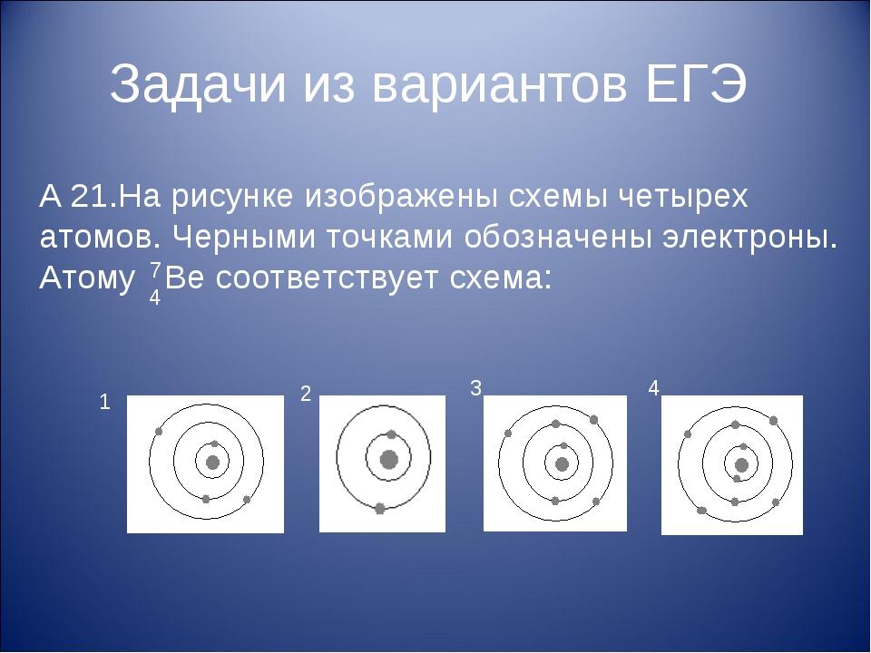 Задачи из вариантов ЕГЭ А 21.На рисунке изображены схемы четырех атомов. Черн...