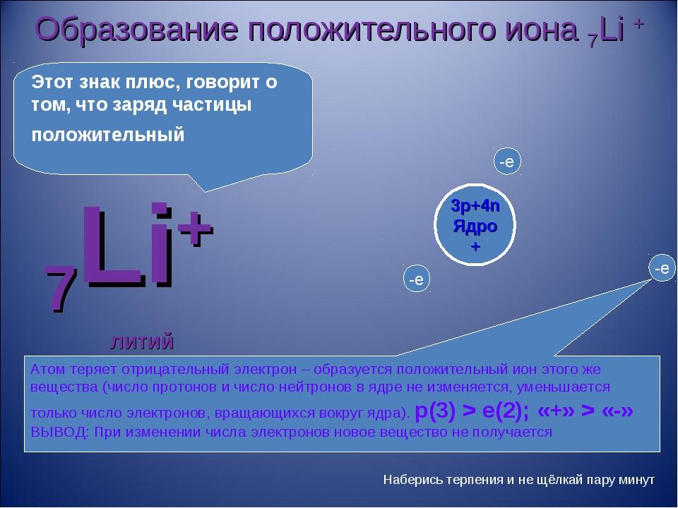 Образование положительного иона 7Li + 7Li+ литий Атом теряет отрицательный эл...