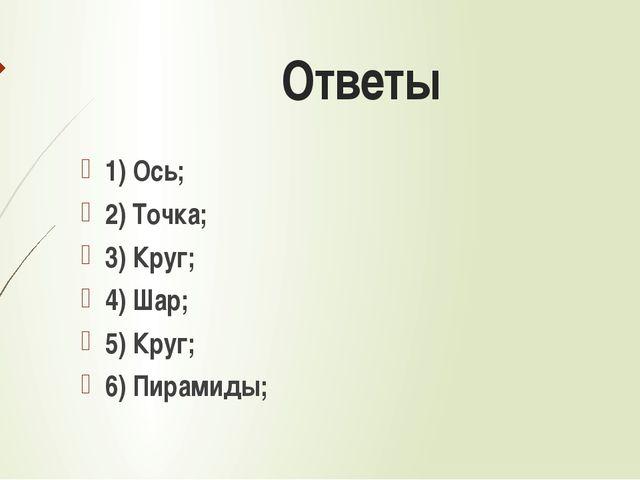 Ответы 1) Ось; 2) Точка; 3) Круг; 4) Шар; 5) Круг; 6) Пирамиды;