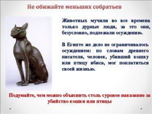 Животных мучили во все времена только дурные люди, за это они, безусловно, по