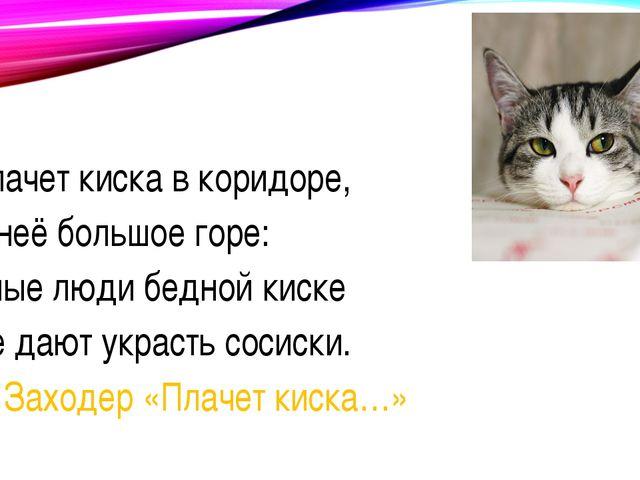 Плачет киска в коридоре, У неё большое горе: Злые люди бедной киске Не дают...