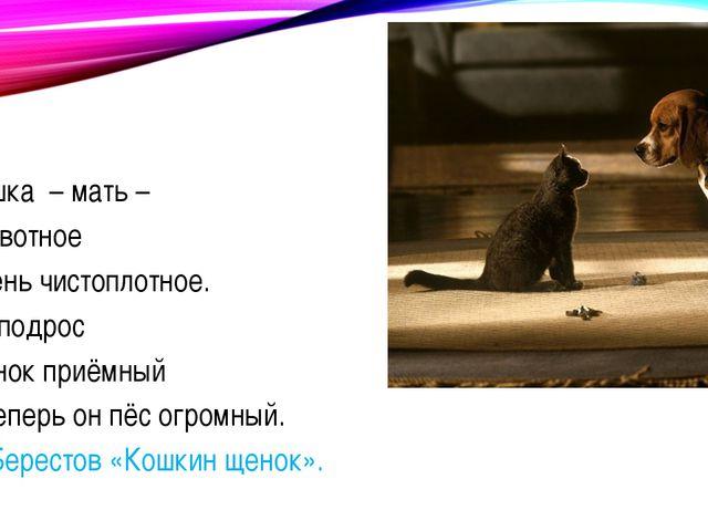 Кошка – мать – Животное Очень чистоплотное. Но подрос Сынок приёмный И тепер...