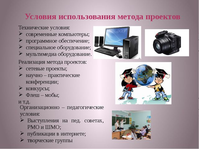 Условия использования метода проектов Технические условия: современные компью...