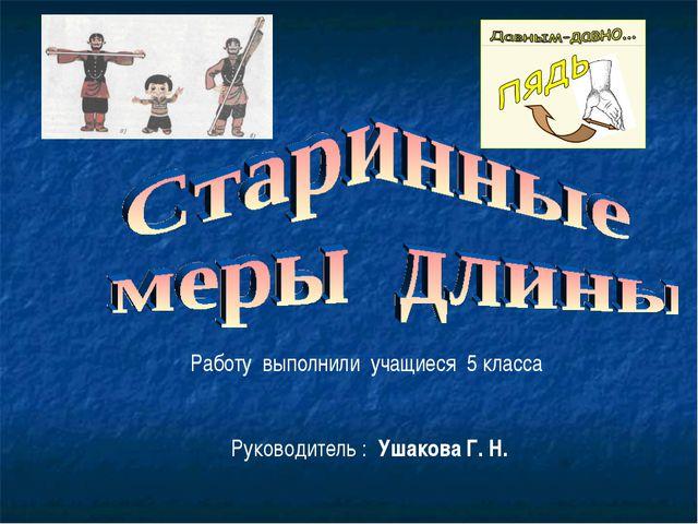 Работу выполнили учащиеся 5 класса Руководитель : Ушакова Г. Н.
