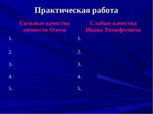 Практическая работа Сильные качества личности Олеси Слабые качества Ивана Ти