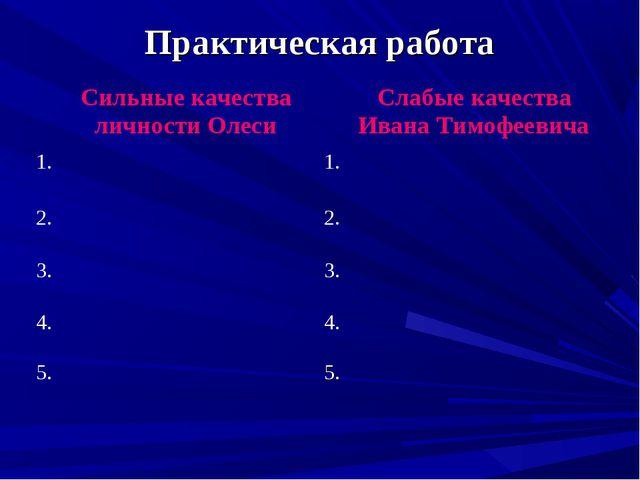 Практическая работа Сильные качества личности Олеси Слабые качества Ивана Ти...