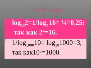 1.log162=1/log2 16= ¼=0,25; так как 24=16. 2.1/log100010= log101000=3, так