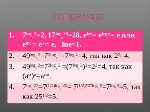 1.7log7 2=2, 17log1728=28, elne= elogee= e или elne = e1 = e, lne=1. 2.49lo