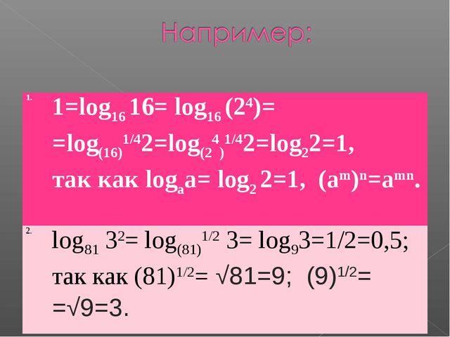 1.1=log16 16= log16 (24)= =log(16)1/42=log(24)1/42=log22=1, так как logаа= l...