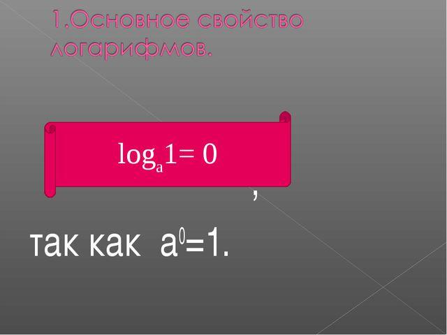 , так как а0=1. logа1= 0