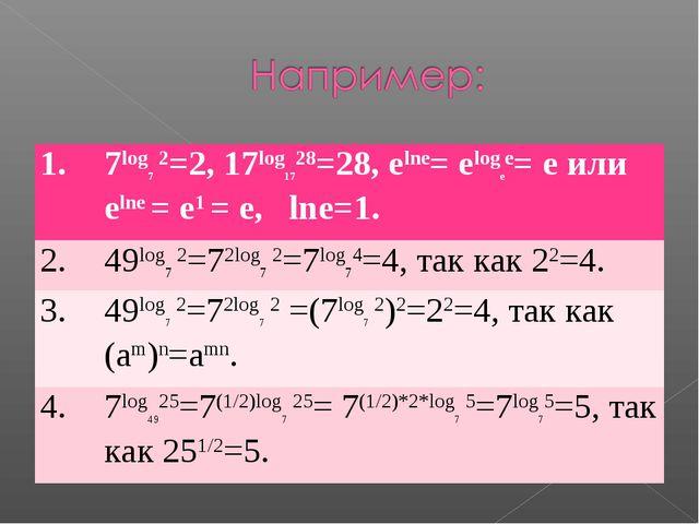 1.7log7 2=2, 17log1728=28, elne= elogee= e или elne = e1 = e, lne=1. 2.49lo...