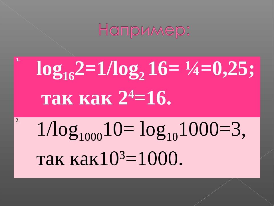 1.log162=1/log2 16= ¼=0,25; так как 24=16. 2.1/log100010= log101000=3, так...