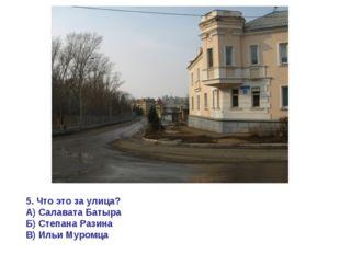 5. Что это за улица? А) Салавата Батыра Б) Степана Разина В) Ильи Муромца