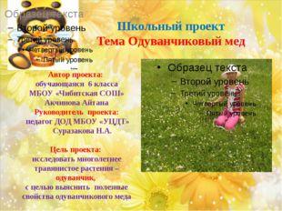 Школьный проект Тема Одуванчиковый мед Автор проекта: обучающаяся 6 класса М