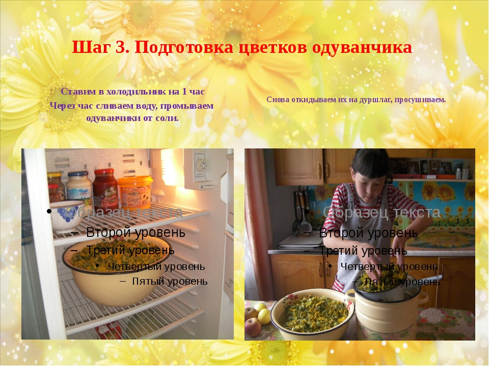 Шаг 3. Подготовка цветков одуванчика Ставим в холодильник на 1 час Через час...
