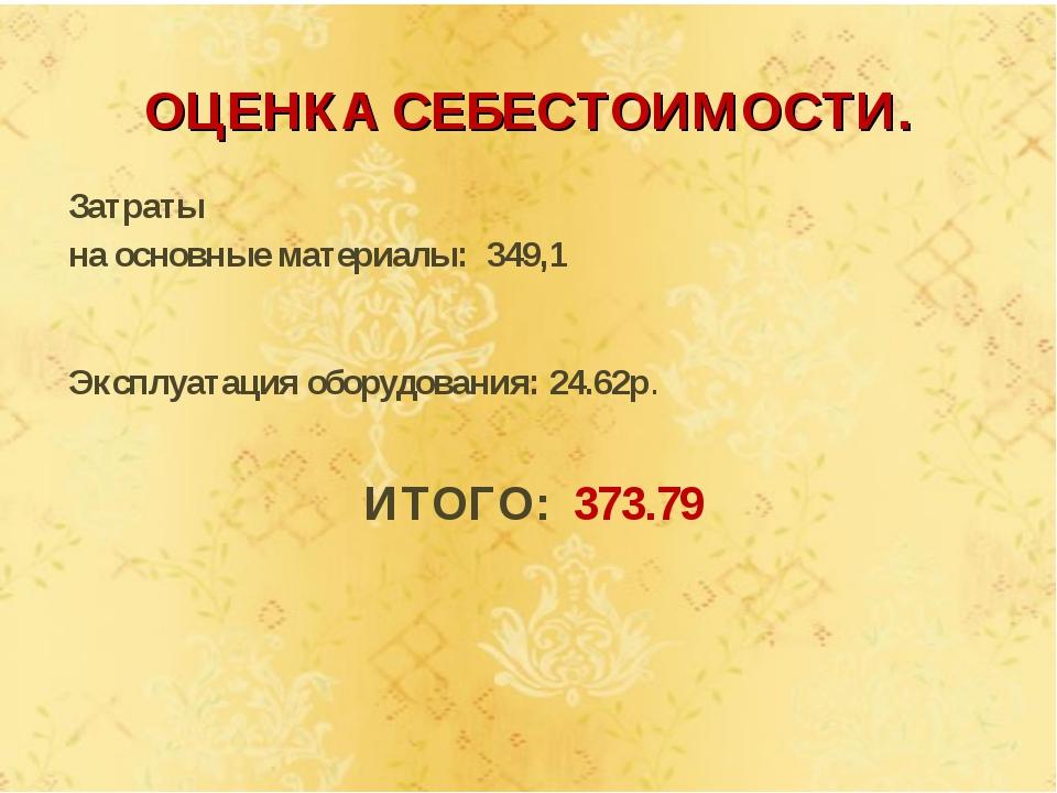 Затраты на основные материалы: 349,1 Эксплуатация оборудования: 24.62р. ИТОГО...
