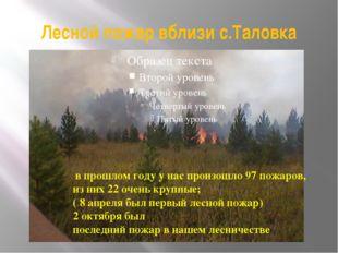 Лесной пожар вблизи с.Таловка в прошлом году у нас произошло 97 пожаров, из н