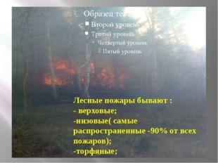 Лесные пожары бывают : - верховые; -низовые( самые распространенные -90% от