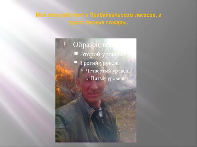 Мой папа работает в Прибайкальском лесхозе, и тушит лесные пожары.