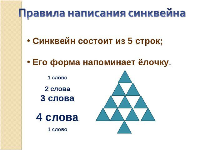 Синквейн состоит из 5 строк; Его форма напоминает ёлочку. 1 слово 2 слова 3...