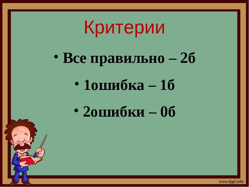 Критерии Все правильно – 2б 1ошибка – 1б 2ошибки – 0б