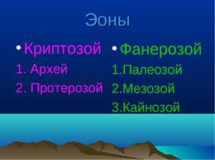 Эоны Криптозой 1. Архей 2. Протерозой Фанерозой 1.Палеозой 2.Мезозой 3.Кайнозой