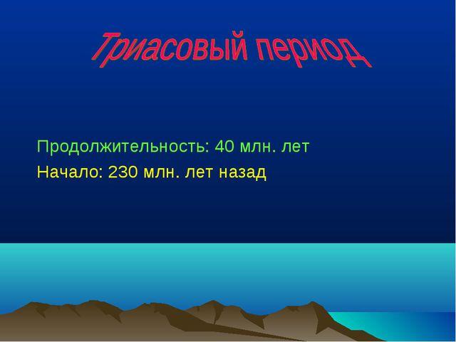 Продолжительность: 40 млн. лет Начало: 230 млн. лет назад