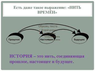 Есть даже такое выражение: «НИТЬ ВРЕМЁН» ИСТОРИЯ – это нить, соединяющая прош