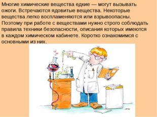 Многие химические вещества едкие — могут вызывать ожоги. Встречаются ядовитые