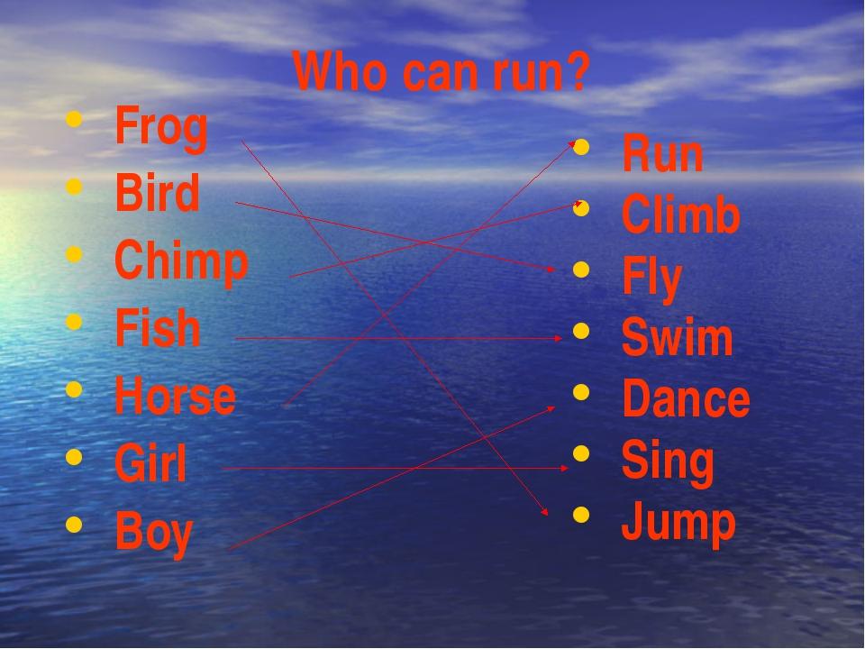 Who can run? Run Climb Fly Swim Dance Sing Jump Frog Bird Chimp Fish Horse Gi...