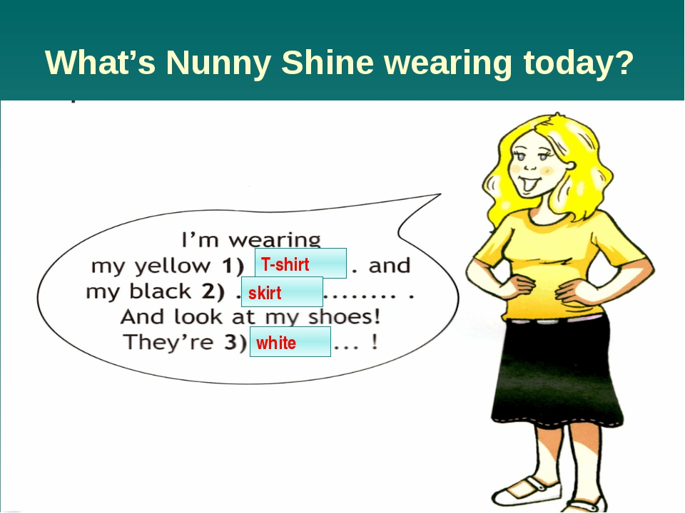 What's Nunny Shine wearing today? T-shirt skirt white