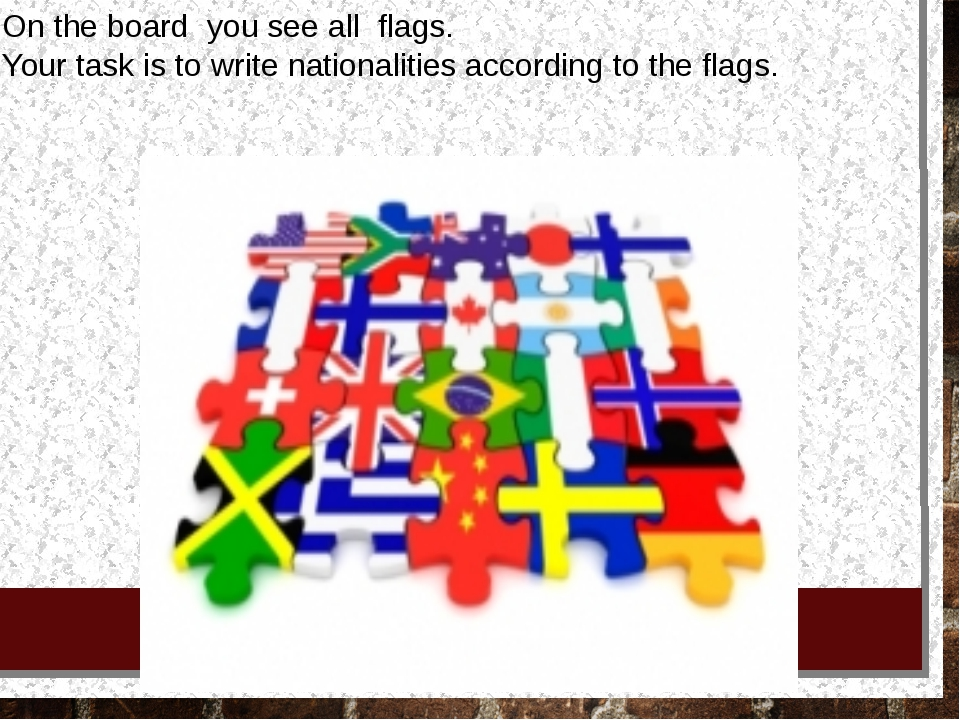 On the board you see all flags. Your task is to write nationalities accord...