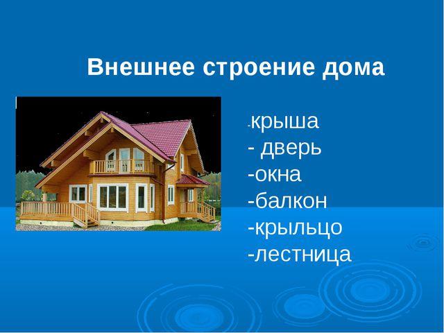 Внешнее строение дома -крыша - дверь -окна -балкон -крыльцо -лестница