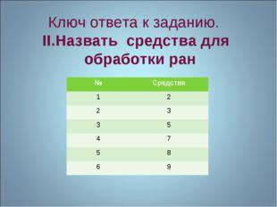 Ключ ответа к заданию. II.Назвать средства для обработки ран №Средства 12 2