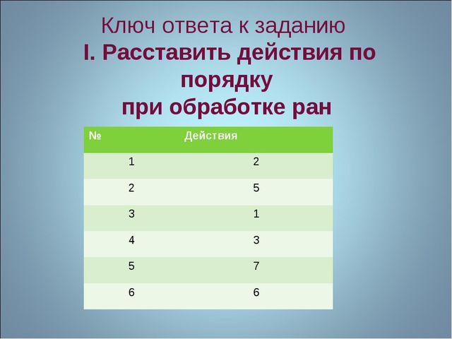 Ключ ответа к заданию I. Расставить действия по порядку при обработке ран №Д...