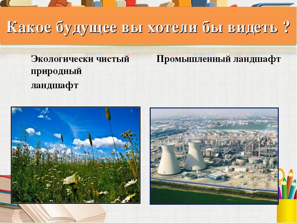 Какое будущее вы хотели бы видеть ? Экологически чистый Промышленный ландшафт...