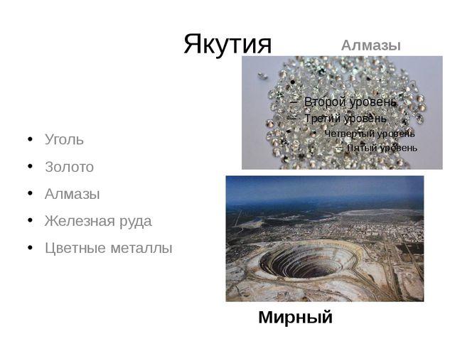 Якутия Уголь Золото Алмазы Железная руда Цветные металлы Алмазы Мирный
